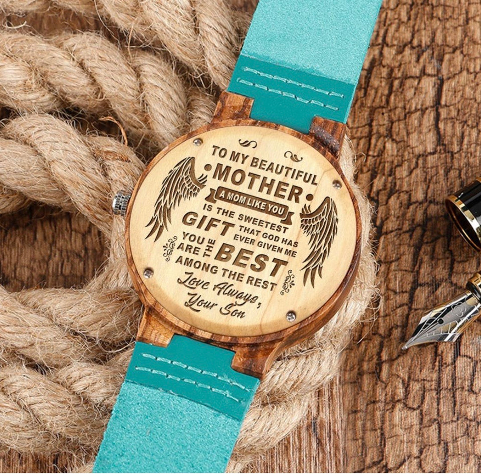 To My Mom - Engraved Wood Watch Gifts