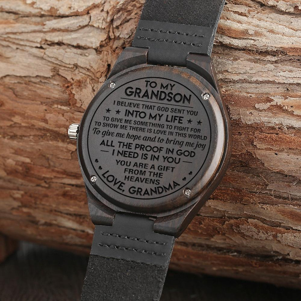 ENGRAVED WOODEN WATCH - GREAT GIFT FOR YOUR GRANDSON!