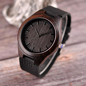 FOR HUSBAND ENGRAVED WOODEN WATCH