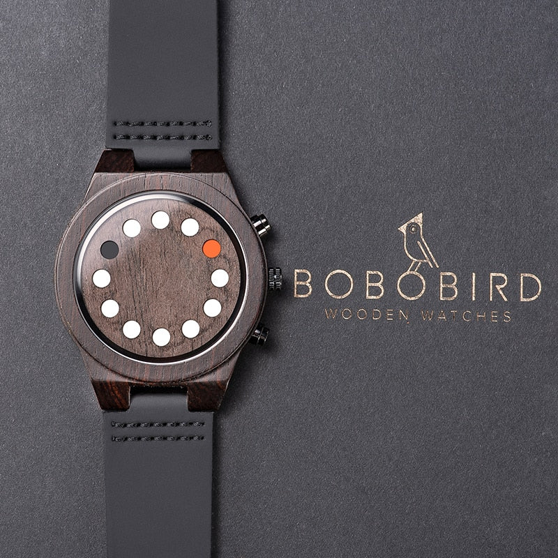 Wood Watch Unique Luminous 12 Holes Timer Design Sports Casual Watches Great Men's Gifts