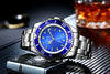 Men Automatic Self Wind Mechanical Stainless Steel Strap Gold Silver Gradient Black Blue Dial Date Business Watch