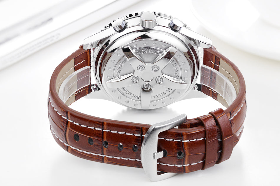 Men Automatic Self Wind Mechanical Stainless Steel Black Brown Blue Leather Strap Sports Big 50mm Watch