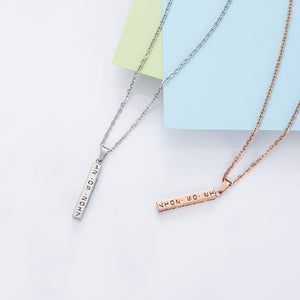 Personalized Engraved Name Date Vertical Bar Necklaces & Pendants