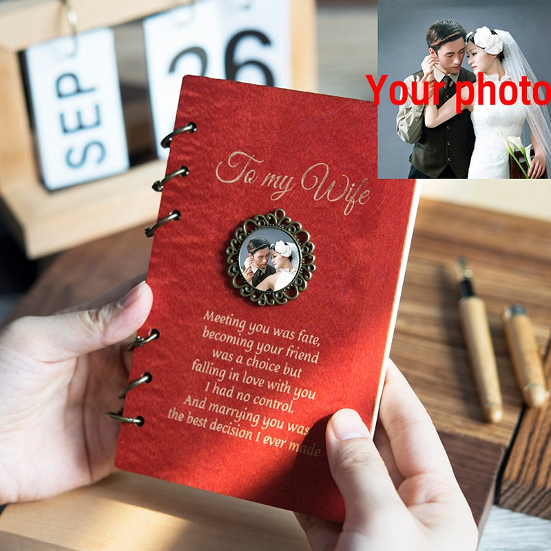 Wood Notebook for Planner Journal Diary Birthday/ Christmas Gifts Personalised for Daughter/Son/Wife
