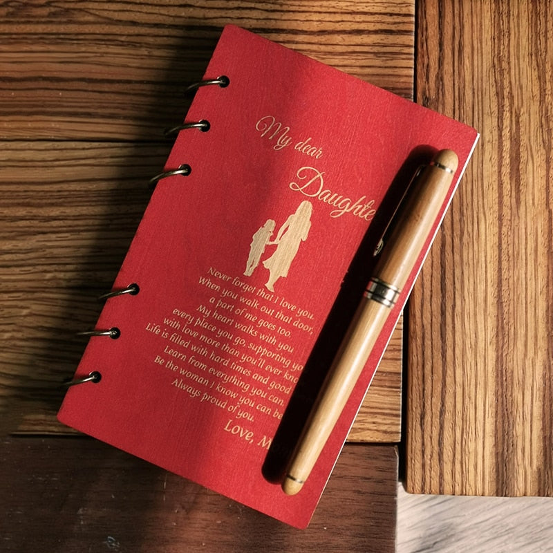 Wood Notebook for Planner Journal Diary Birthday/ Christmas Gifts Personalised for Daughter