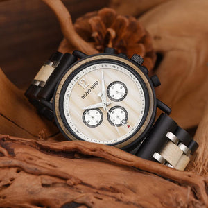 Luxury Wood Timepieces Chronograph Quartz Watch - Great Gift for Men