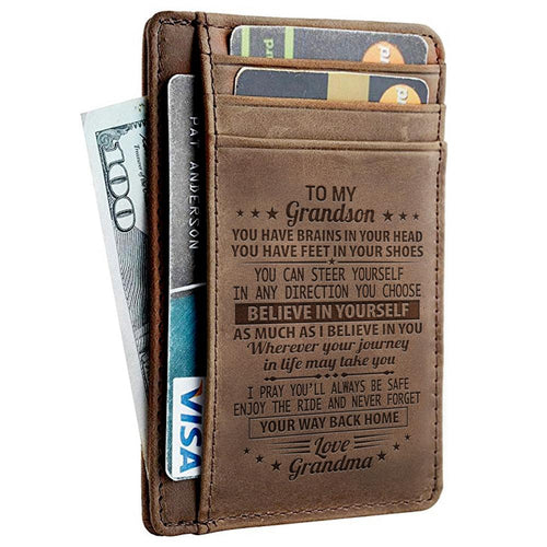 Leather Engraved Slim Card Holder Wallet For Grandson With Box Gift
