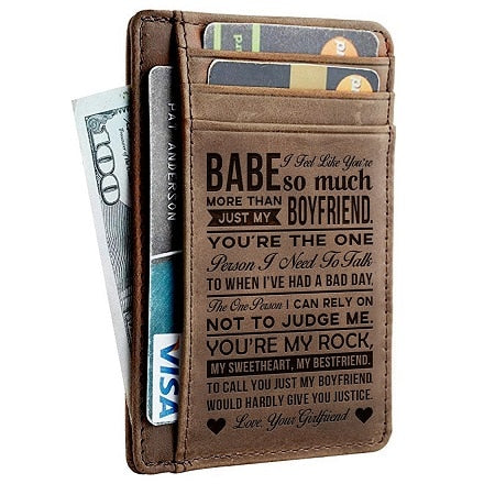 Leather Engraved Slim Card Holder Wallet For BoyFriend With Box Gift