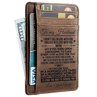 Leather Engraved Slim Card Holder Wallet For Husband With Box Gift