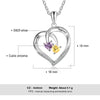 "Personalized ""2 Birthstones & 2 Names"" Heart Necklace"