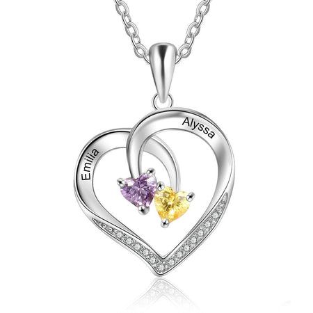 Personalized Heart Necklace with 2 Birthstones & Engraved 2 Names - 925 Sterling Silver