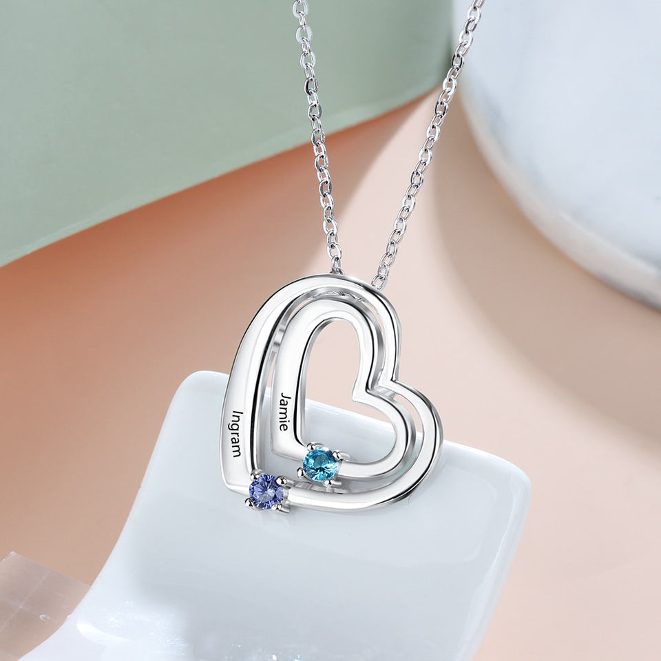 "Personalized ""Name & 2 Birthstones"" Pendants Necklace for Women"