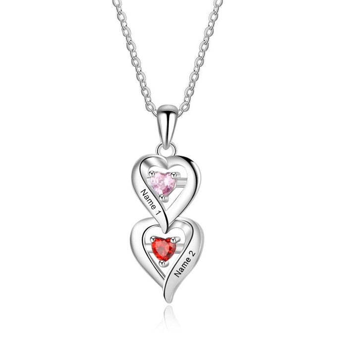 Personalized 925 Sterling Silver Heart Necklace with