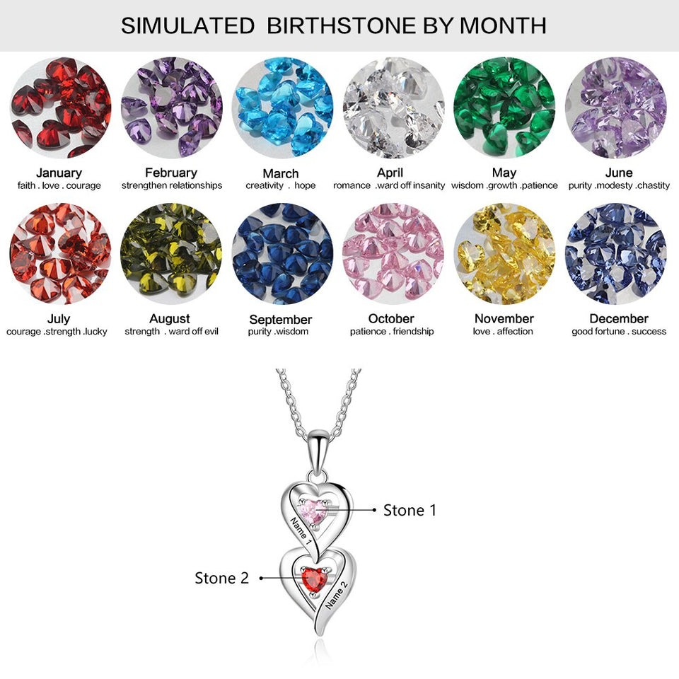 "Personalized Necklace with ""2 Birthstones & 2 Names"" Silver Pendants for Women"