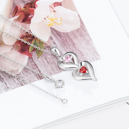 "Personalized 925 Sterling Silver Heart Necklace with ""2 Birthstones & 2 Names"" Engraved Silver Pendants for Women Promise Gifts"