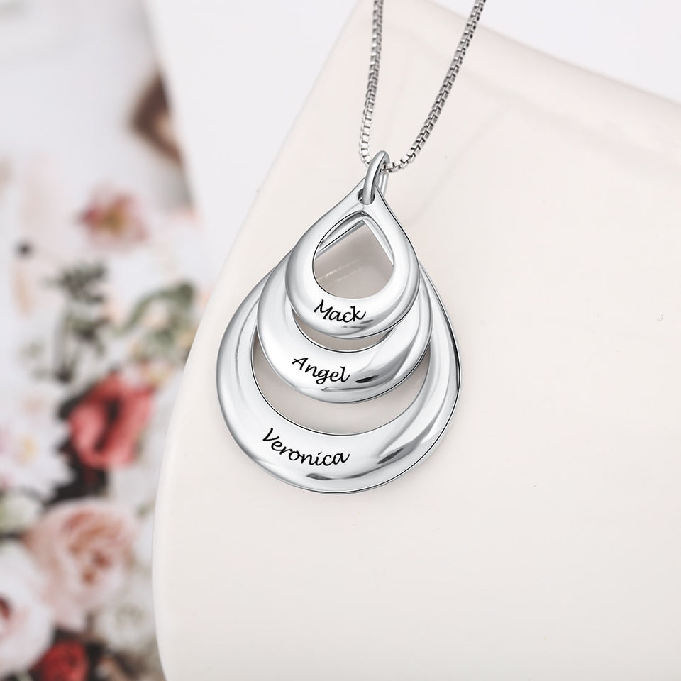 "Personalized ""3 Names"" Silver Pendant Necklace"