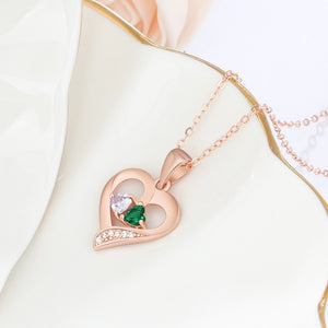 "Personalized ""2 Names & 2 Birthstones"" Necklaces for Women - Rose Gold /Gold /Silver"