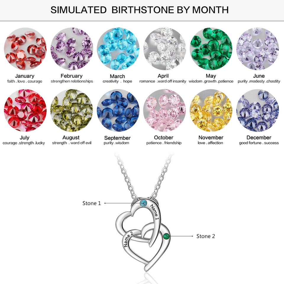 "Personalized with ""2 Birthstones & 2 Names"" Interlocking Heart Necklace"