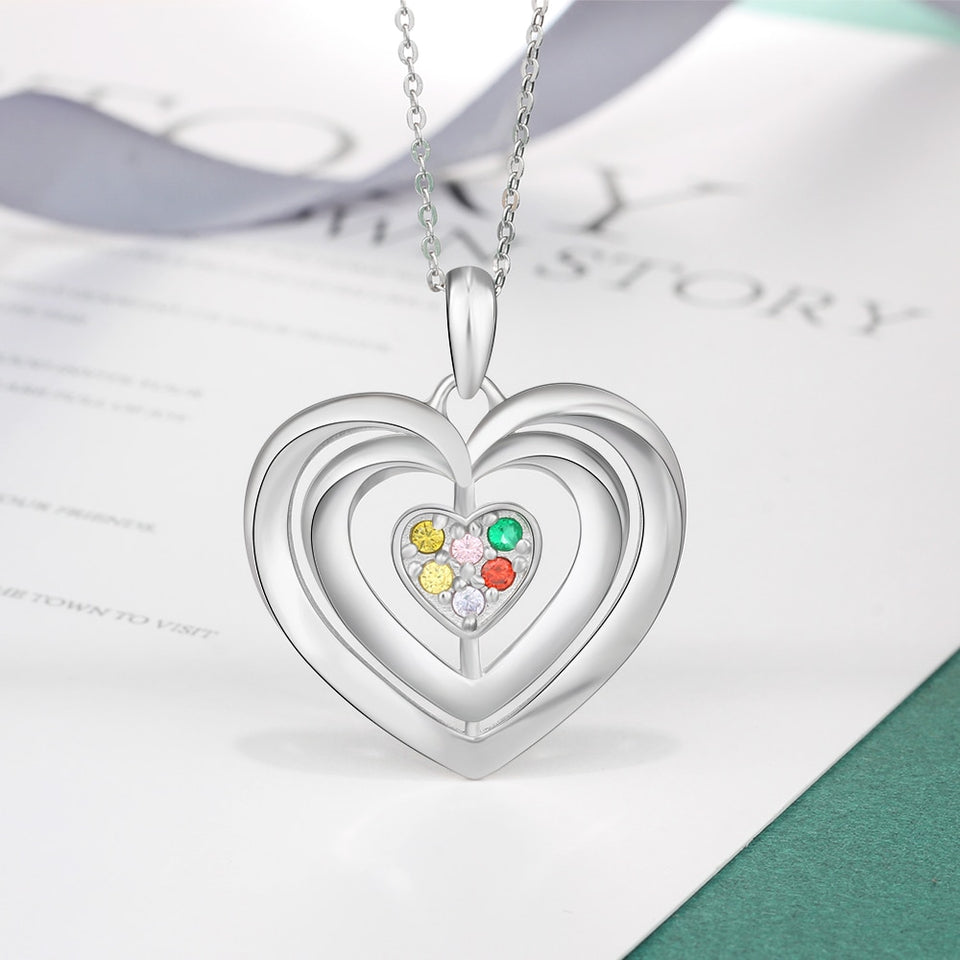 "Personalized with ""6 Birthstones & Names"" Heart Pendant Necklace"
