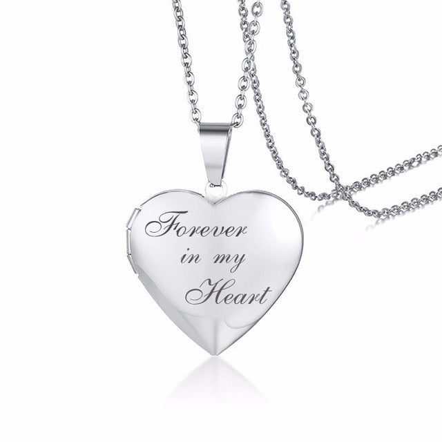 Personalized Heart Locket Pendant Photo Frame & Text Necklaces For Daughter/Wife