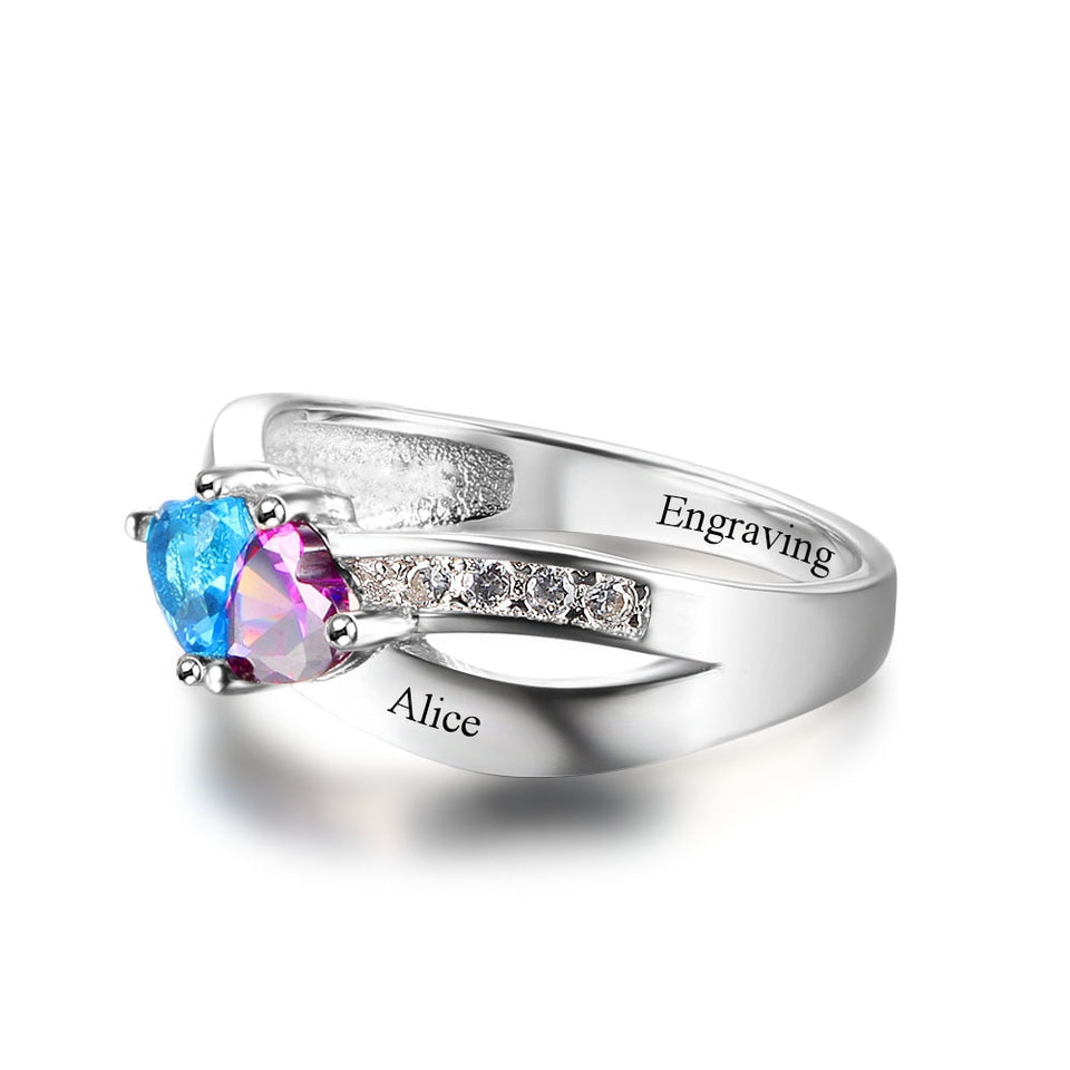 Promise Rings Personalized Jewelry Engrave Name Custom Birthstone Ring 925 Sterling Silver