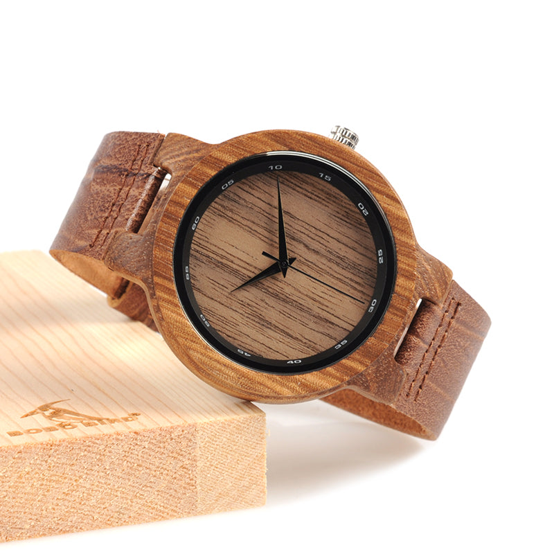 Zebra Wood Leather Band Quartz Watches in Wooden Box
