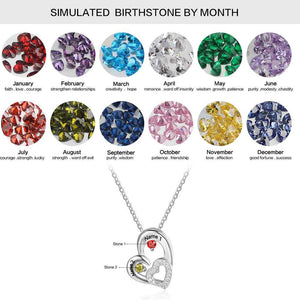 Personalized 925 Sterling Silver 2 Birthstone Necklace Pendants Engraved Heart