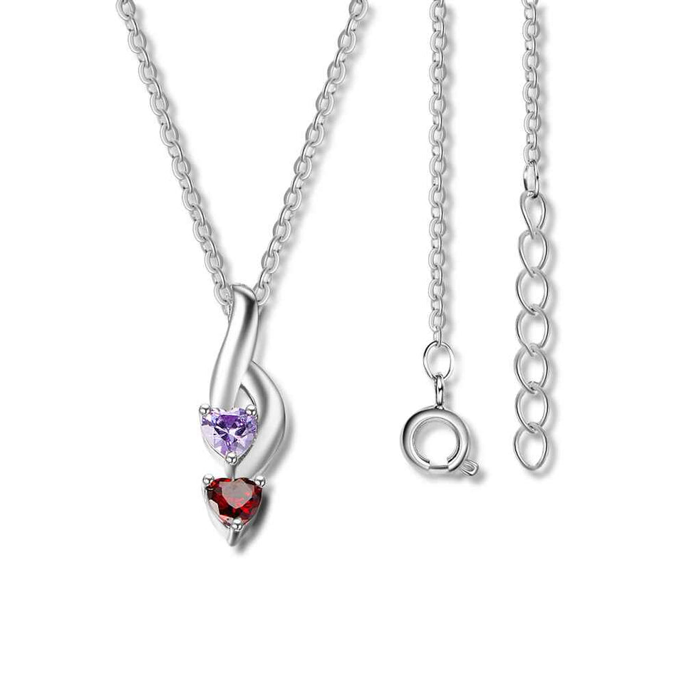 Personalized 925 Sterling Silver 2 Birthstone Necklace Pendants