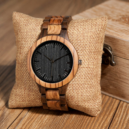 Mens Zabra Wooden Quartz Watches for Men in Gift Box