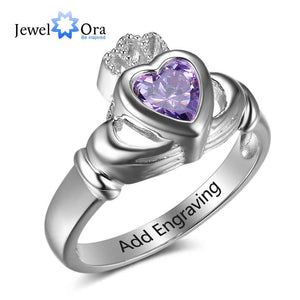 Crown Custom Birthstone Ring Engrave Name Love Rings 925 Sterling Silver