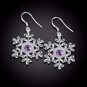 Snowflakes Crystal Earrings For Women Christmas