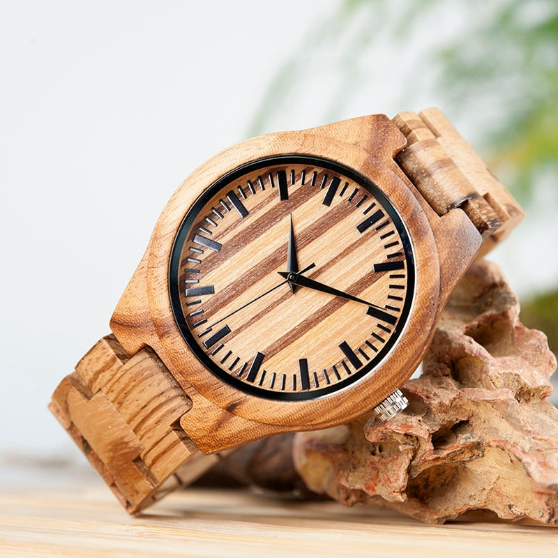 Wood Watch for Men Full Zebra Watches Wooden Box