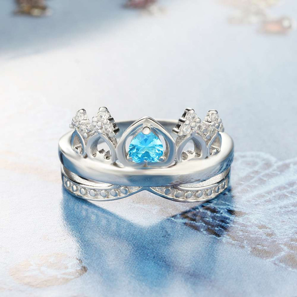 Heart Crown Birthstone Ring 925 Sterling Silver Engrave Name