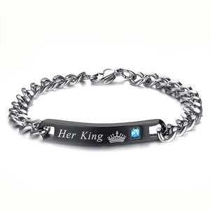 Crown His Queen - Her King Engraved Couple Bracelets