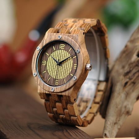 New Wooden Watches Timepieces for Men Zebra Wood in Wooden Gift Box