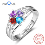 Family Ring Personalized 4 Birthstone Engrave 4 Name Rings For Mom