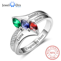 Family Ring Personalized Birthstone Engrave Name Rings 925 Sterling Silver