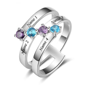 Personalized Engrave 4 Names Childrens Birthstone Rings 925 Sterling Silver Jewelry