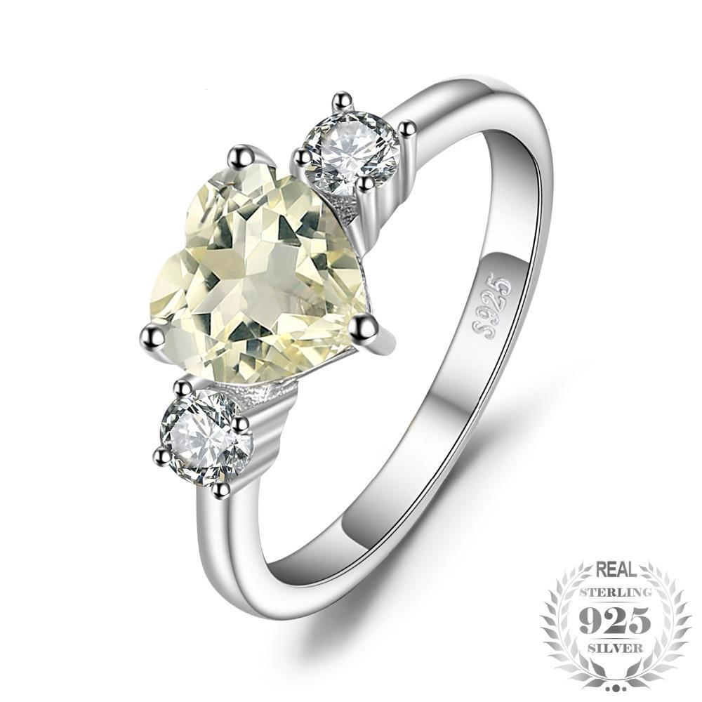 Love Heart 1ct Genuine Gemstone Lemon Quartz and White Topaz 3 Stone Ring