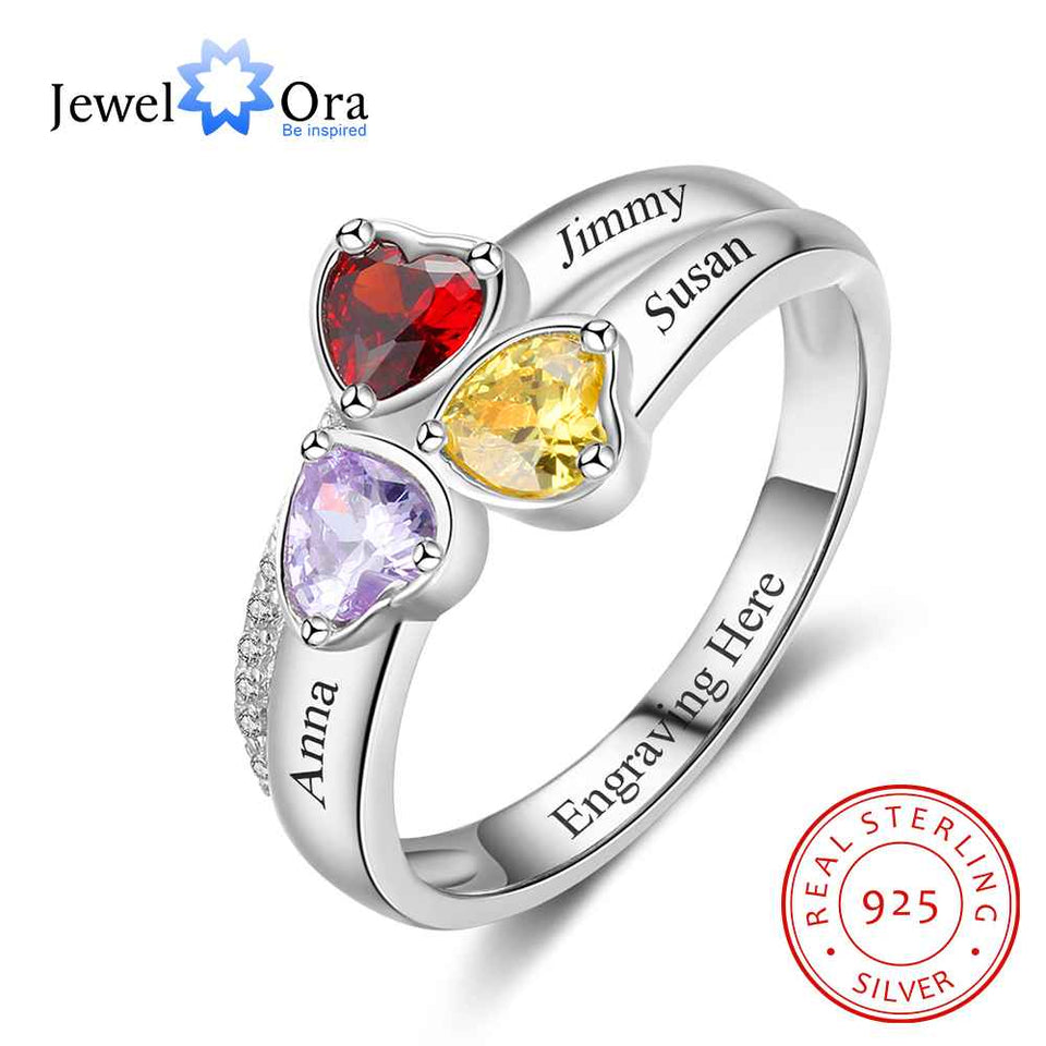 Heart Birthstone Personalized Engrave 3 Name Ring 925 Sterling Silver