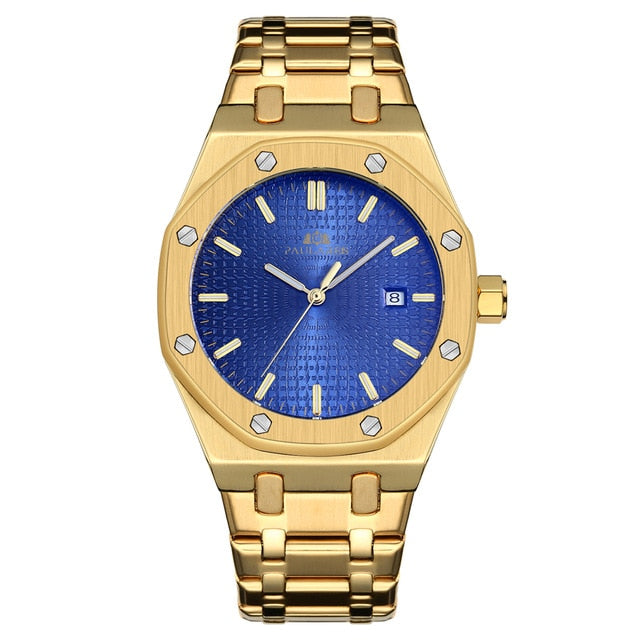 Men Automatic Self Wind Mechanical Stainless Steel Strap Simple Business Blue Rose Gold Yellow Gold Date Watch