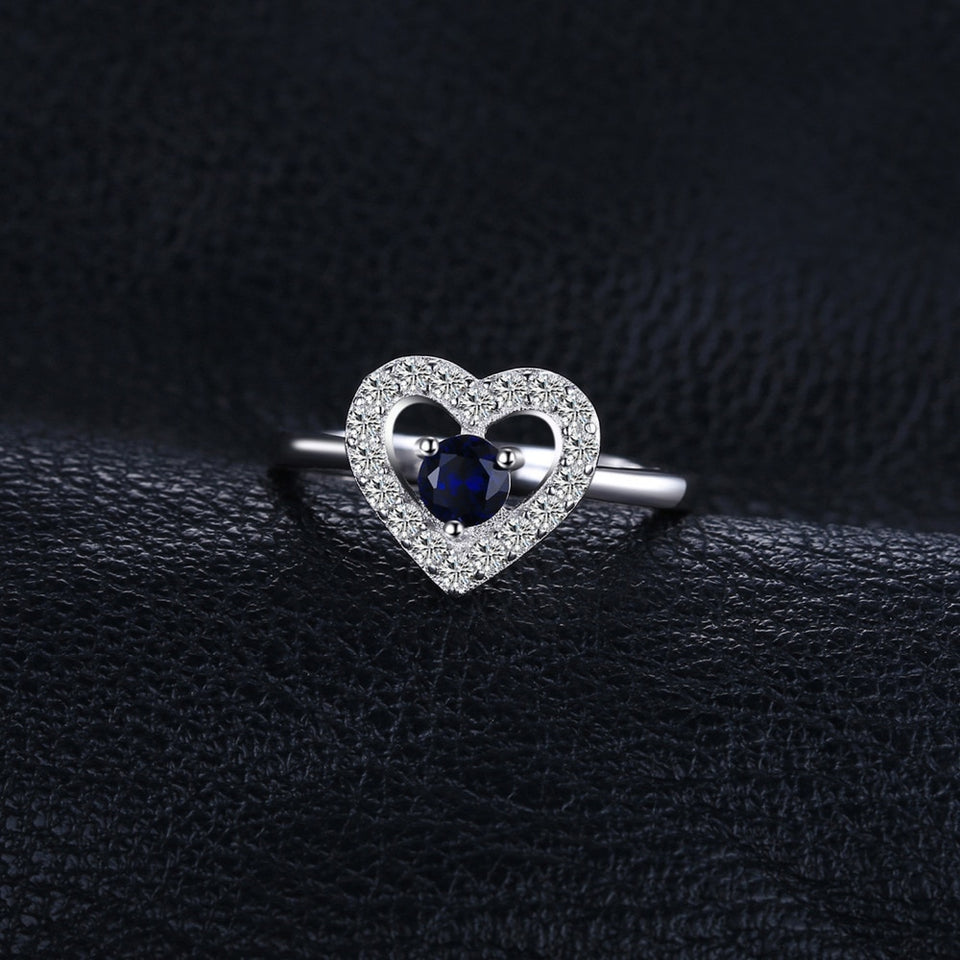 Love Heart 0.6ct Created Blue Spinel Ring