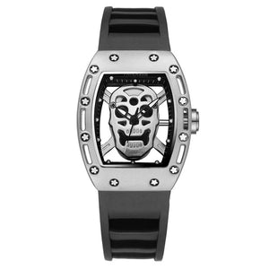 Men Fashion Quartz Rose Gold Silver Black Skeleton Skull Silicone Strap Rectangle Transparent Watch