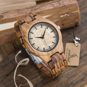 Wristwatches Full Natural Zabra Wooden Band Quartz With in Wood Box