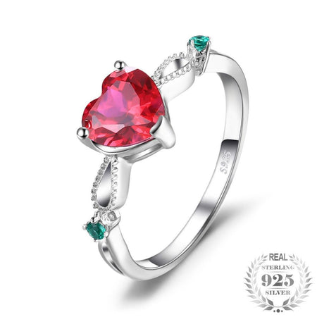 Ruby 3 Stone Ring Real 925 Sterling Silver Jewelry