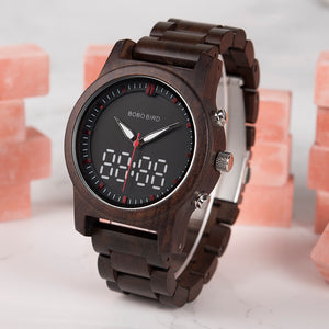Men's Wooden Watches Luxury Brand LED Digital Quartz
