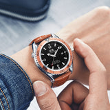 Men Automatic Self Wind Mechanical Orange Blue Black Leather Stainless Steel Rubber Simple James Bond 007 Style Business Watch
