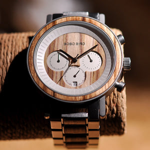 Wooden Stainless Steel Waterproof Chronograph Watch