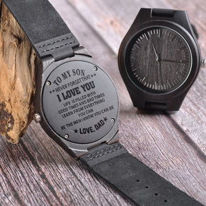 Wood Engraving Watch For Son Gifts