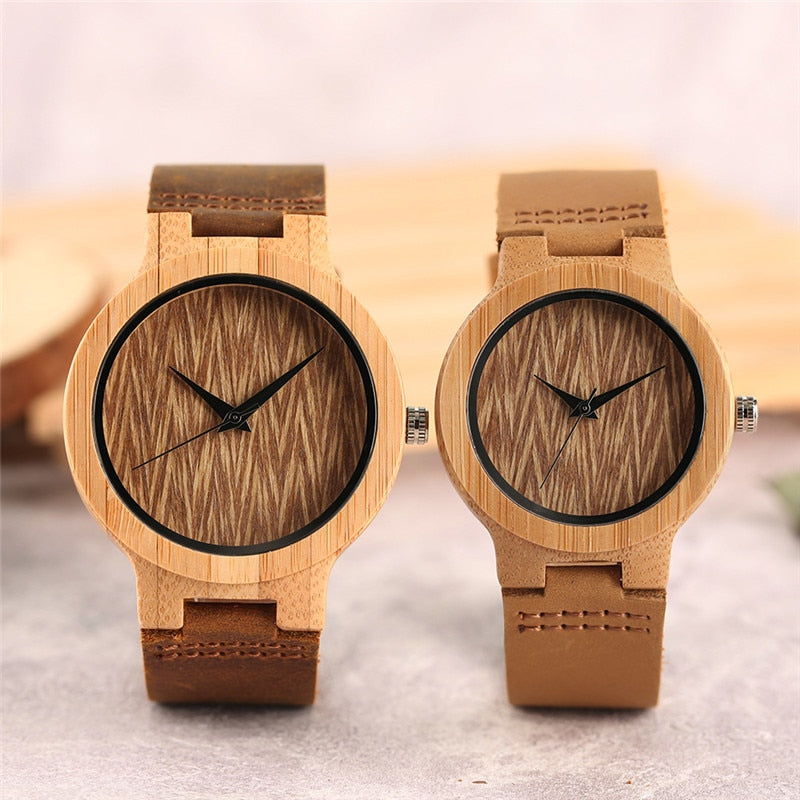 Simple Brown Wave Pattern Bamboo Watches Couple